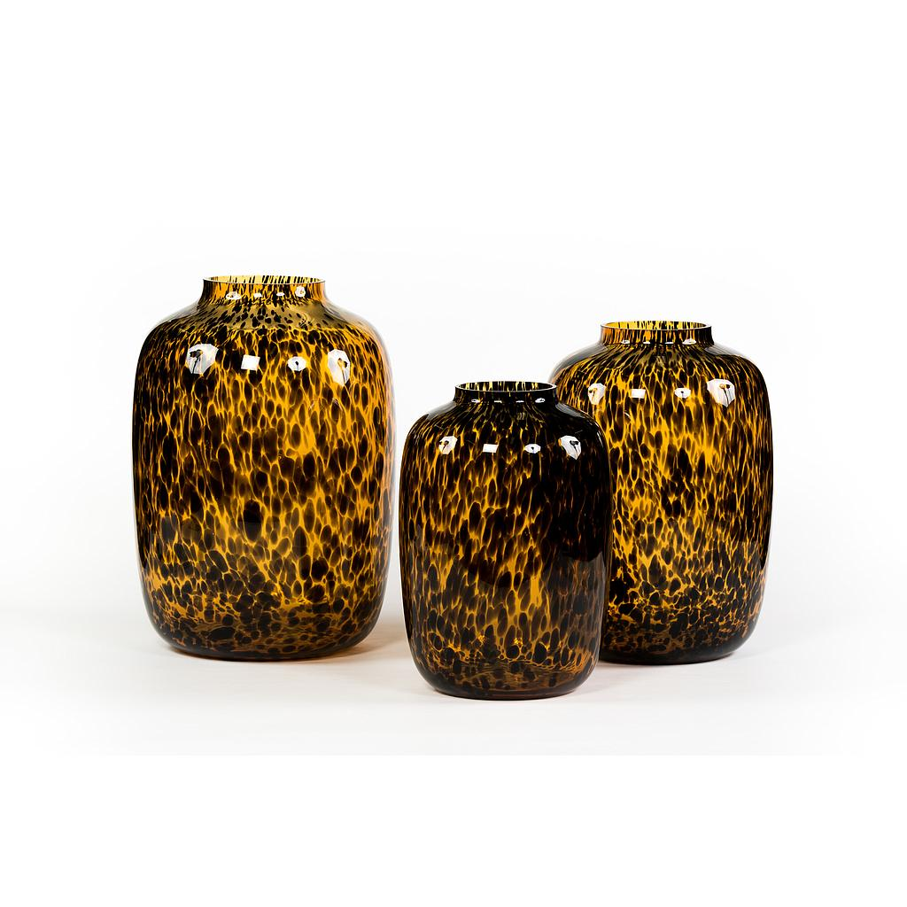 Leopard spotted bulb - glass - amber + black - large Ø 32.5 x 45 - p/1-1