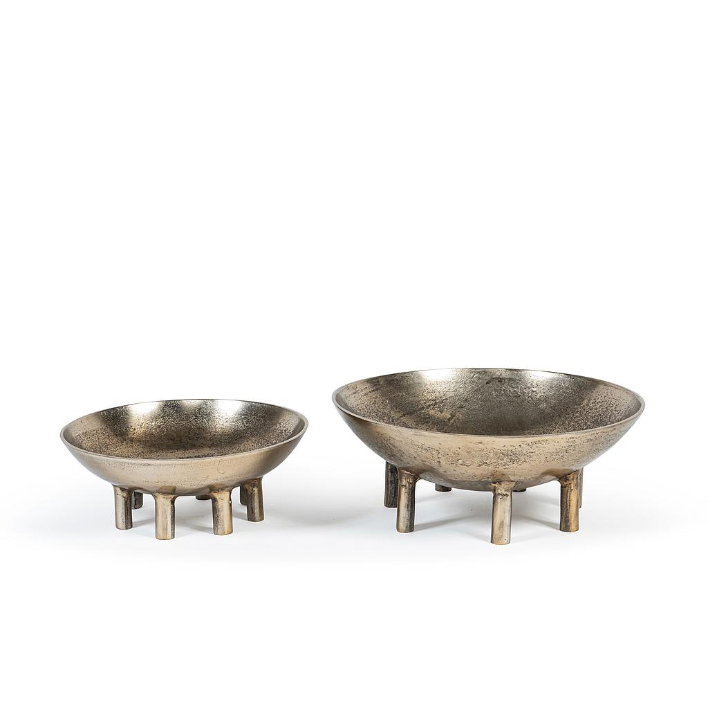 Bowl on 7 feet, set of 2 antique gold Ø35 x 15xm / Ø29 x 12cm p/ 1/3